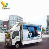 يعلن عربة مع شمسيّة يزوّد [لد] لوح إعلان