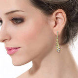 Das überzogene Kupferlegierung-Schmucksache-Form-Gold baumeln Ohrring