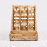 Caixa de madeira do arquivo de DIY com a bandeja de original de 3 colunas