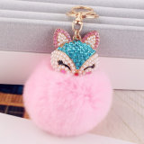 Pelliccia capa Keychain del coniglio del Faux della pelliccia POM POM di Fox del bello diamante