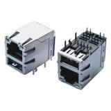 Doppeltes USB-Weibchen männlichen dem Adapter RJ45 Jack zu des Ethernet-RJ45