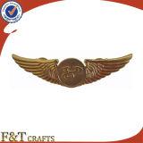 Pin promocional de la solapa del regalo de las alas de metal de la divisa de encargo elegante barata del Pin