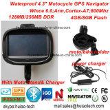 """Novo carro de 4,3"""" à prova de Bike moto Acção Exterior Veículo Marine navegação GPS com navegador GPS Mapa, fone de ouvido Bluetooth, sistema de navegação GPS do dispositivo portátil"""