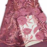 Fiore di qualità superiore del tessuto del merletto di colore rosa 3D di disegno francese per la cerimonia nuziale femminile
