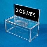 Doação de caridade em acrílico de plástico Caixa de dinheiro com bloqueio
