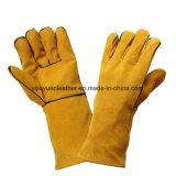 Перчатки заварки проектной работы высокотемпературного сопротивления Cowhide длинние