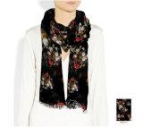花模様の粋な絹のスカーフ