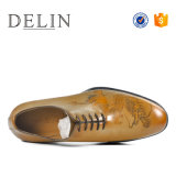印刷の品質の純粋な本革の唯一の人の靴
