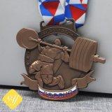 Chapado en antigüedades religiosas Glitter Metal corriendo la Maratón de Honor Medalla deportiva personalizada