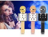 Microphone portatif sans fil du haut-parleur KTV Bluetooth d'or de karaoke noir de Rose mini