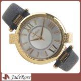 Vigilanze di lusso del quarzo delle signore di stile semplice, orologio impermeabile del cuoio genuino