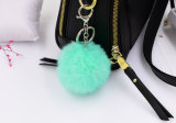 Keychain袋の魅力の実質のウサギの毛皮のためのカスタム毛皮POM
