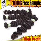 Ровное естественное выдвижение волос черноты 6A индийское Remy