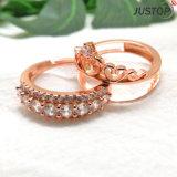 La alta calidad 2 en 1 separado separa el anillo de cobre amarillo del cobre de piedra del diamante del Zircon para las mujeres