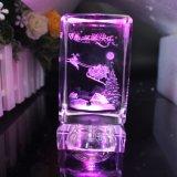 Insignia del OEM del grabado del laser del cubo del vidrio cristalino de los regalos de la Navidad