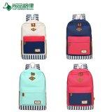 Kontrast-Farben-beiläufige Streifen imprägniern Segeltuch-Rucksack-Schule-Rucksack-Großverkauf