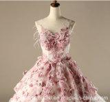 Vestidos de casamento Sleeveless nupciais Z1028 do vestido de esfera do laço cor-de-rosa
