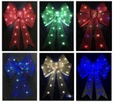 LEDランプが付いている織り目加工のきらめきのクリスマスの装飾の弓