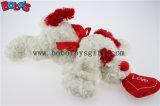 Bobo Couché blanc moelleux du chiot jouet avec des animaux et le coeur de l'oreille oreiller rouge dans le prix de gros Bos1192