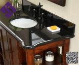 Stanza da bagno nera di vanità di singola del granito vanità nera della stanza da bagno con il controsoffitto
