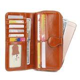 Bolsa carteira da Embreagem da mulher o titular do cartão de bolso pequena bolsa em pele Compart Senhoras Minin bolsa com janela ID (WDL01082)