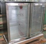 Refrigerador de exibição da barra traseira da porta de vidro vertical com ventilador assistido