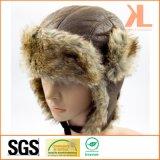 耳の折り返しが付いている100%年のポリエステル人工毛皮のUshankaの冬の帽子