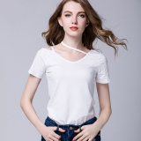 Le donne su ordinazione all'ingrosso 2017 della maglietta della Cina della maglietta mettono le magliette in cortocircuito afflitte in bianco del manicotto