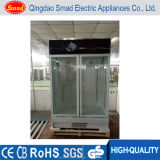 Frigorifero commerciale della visualizzazione del supermercato di vetro verticale del portello