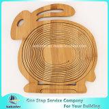 Cesta de madeira de bambu dobrável Non-Toxic da colheita da fruta com punho