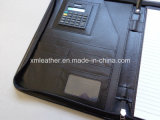 Black de relief Leather Professional Portfolio avec Zip