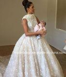 Мантии шарика шнурка Bateau роскошь поезда V-Back Bridal глубокая отделяемая цветет платье венчания G1783