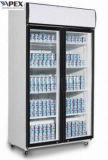 최고 거치된 압축기를 가진 1100liter 두 배 미닫이 문 전시 냉각기