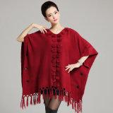 Fashion Acrylic Knitted Jacquard女性フリンジの冬のショールのポンチョ(YKY4480)