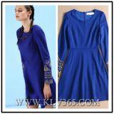 Vestido de partido quente de lãs do inverno do bordado das mulheres da roupa de desenhador da venda