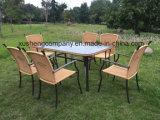 Diseño moderno mobiliario de jardín exterior Rattan juego de comedor con mesa