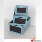 Apilable hecho a mano de madera de la vendimia Planter Box Maceta 2 colores