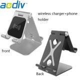 Nuevos Productos X3 de aluminio multiposición cargador inalámbrico con soporte de teléfono móvil