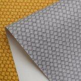 Couro revestido impresso colorido do PVC da cesta de Weave para o saco