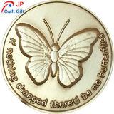 Patrón de la mariposa de alta calidad personalizado prueba redonda Coin