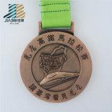 Fabbrica della Cina che lancia la medaglia all'ingrosso di maratona dell'oro dello smalto con il nastro