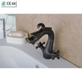 Black Dule Cross Handle Dragon Brass Bathroom Basin Faucet (Q14608B)