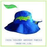 大きい縁の青の値下げされた刺繍釣帽子