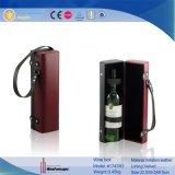 Contenitore di regalo di cuoio di lusso su ordinazione dell'elemento portante del vino di alta qualità