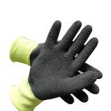 Vert fluorescent 3/4 gant enduit la mousse de latex pour les ordures