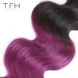 ブラジルのバージンのHuaman Omberの毛の織り方1b/Purpleカラー毛ボディ波のRemyの毛の拡張2音色の毛(TFH18)