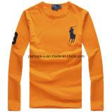 Camicia di cotone pura Long-Sleeved di colore del collo rotondo del Mens