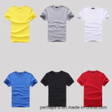Vente en gros T-shirt en coton couleur pure avec logo personnalisé