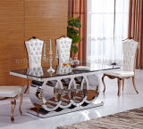 Sala de jantar Modern New Design Rectangle Shape Marble Top Metal Table