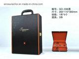カスタム包装の贅沢なPUの革ギフトのガラスワインボックス
